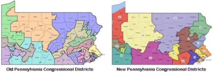 Old and New PA Congressional Districts 250