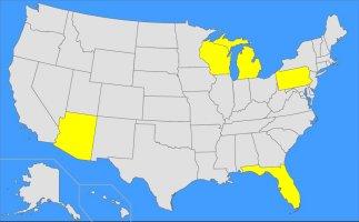 US Map 5 States 200