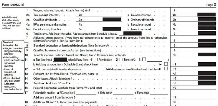 2018 Form 1040 Standard Deductions 400
