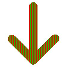 Red and Green Down Arrow